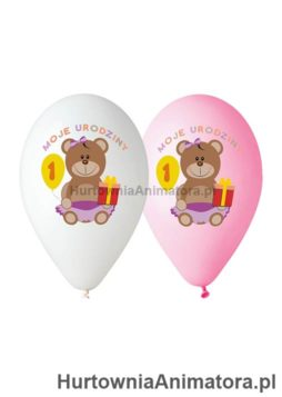 Balony_Moje_1_Urodziny_rozowe_białe_hurtownia_animatora_pl