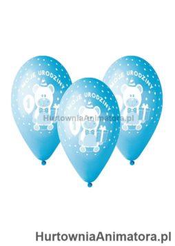 Balony_Premium_Moje_1_Urodziny_bialo_niebieskie_hurtownia_animatora_pl