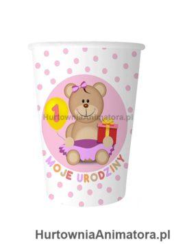 kubeczki-1-urodziny-rozowe_hurtowniaanimatora_pl